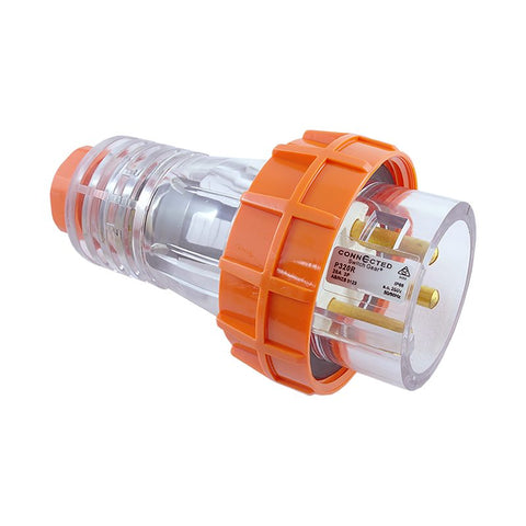 IP66 3 Pin Straight Plug Ð 250V AC 20A