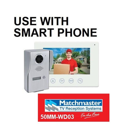 Matchmaster Surface Wi-Fi Video Doorbell with Colour Monitor and Smart Device Access 50MM-WD03