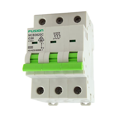 Circuit Breaker 3 Pole 500V ac. 63amp C Curve Breaking capacity 6kA