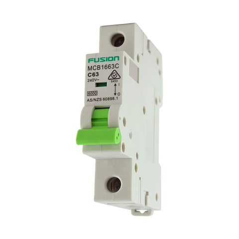 Circuit Breaker 1 Pole 250V ac. 63amp C Curve Breaking capacity 6kA