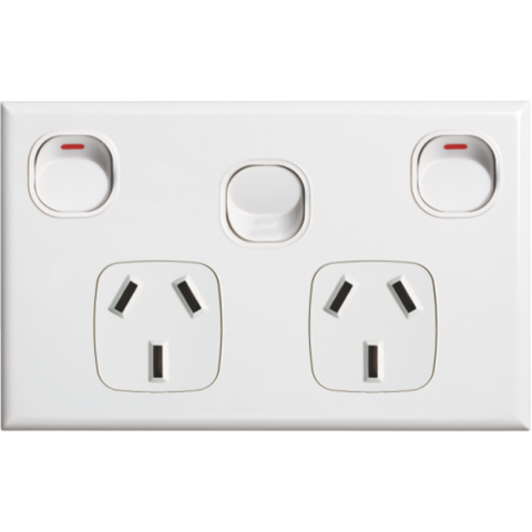 Standard double power point with extra Switch 16A