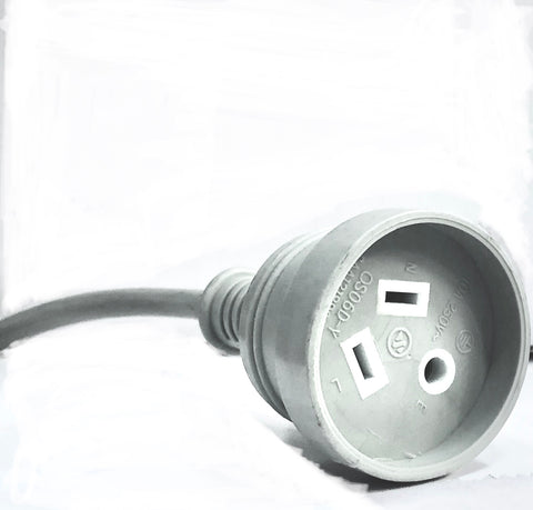 3pin Round Earth Socket 1.7mtr 10A - Grey 1.0mm