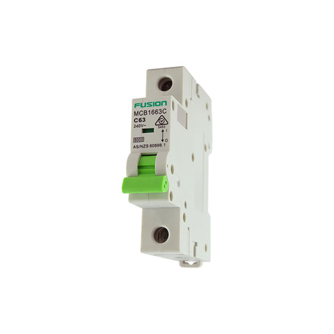 Circuit Breaker 1 Pole 250V ac. 10amp C Curve Breaking capacity 6kA