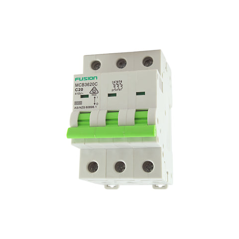 Circuit Breaker 3 Pole 500V ac. 20amp D Curve Breaking capacity 6kA