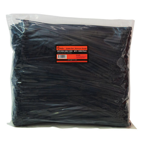 Cable Tie Nylon 300x4.8mm Black (1000/pkt)