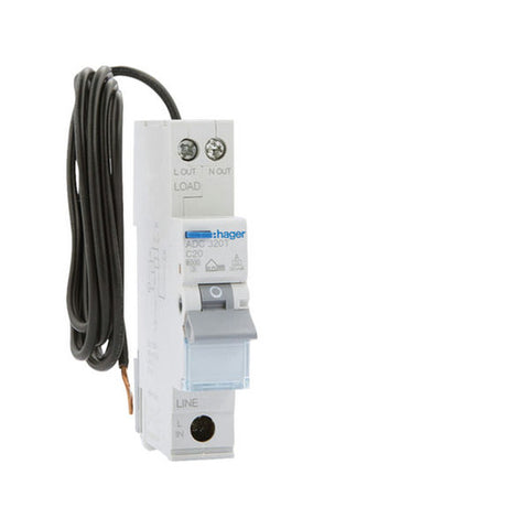 Hager Single Pole RCBO 6kA- 20A C- Curve