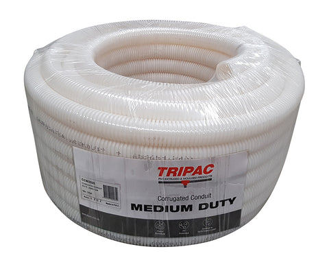 CORRUGATED CONDUIT WHITE 25MM X 25M