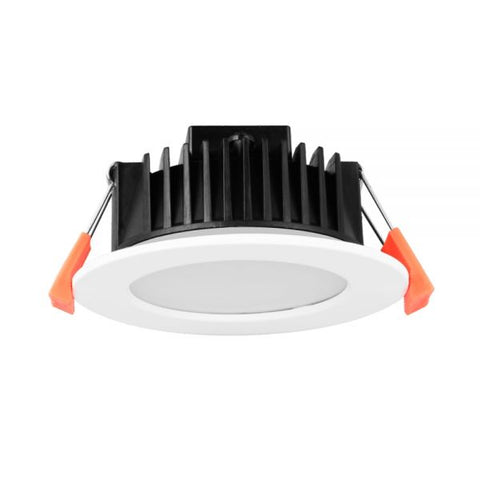 LED Downlight kit 12W: C-BUS2 Compatible FLAT Dimmable LED Downlight Tri colour - White Fitting 90mm CUT-OUT