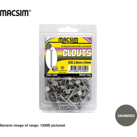 2.8 X 25 Galvanised Clouts (500g Pack)
