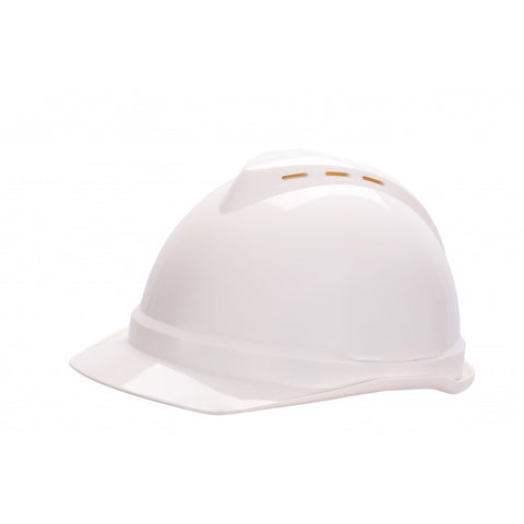 MSA V-GARD 500 Vented Hard Hat With 6 Point PUSH KEY Suspension White