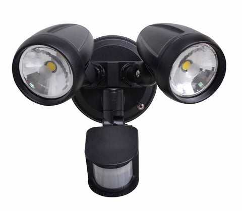 Twin LED Flood Light with Inbuilt Sensor- Black