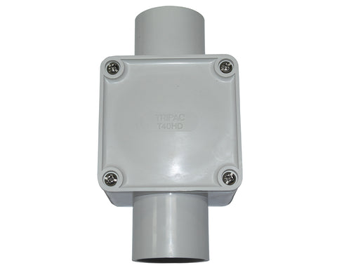 JUNCTION BOX SQUARE 40MM 2 WAY ENTRY