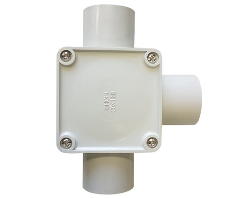 JUNCTION BOX SQUARE 40MM 3 WAY ENTRY
