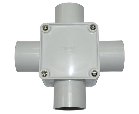 JUNCTION BOX SQUARE 40MM 4 WAY ENTRY