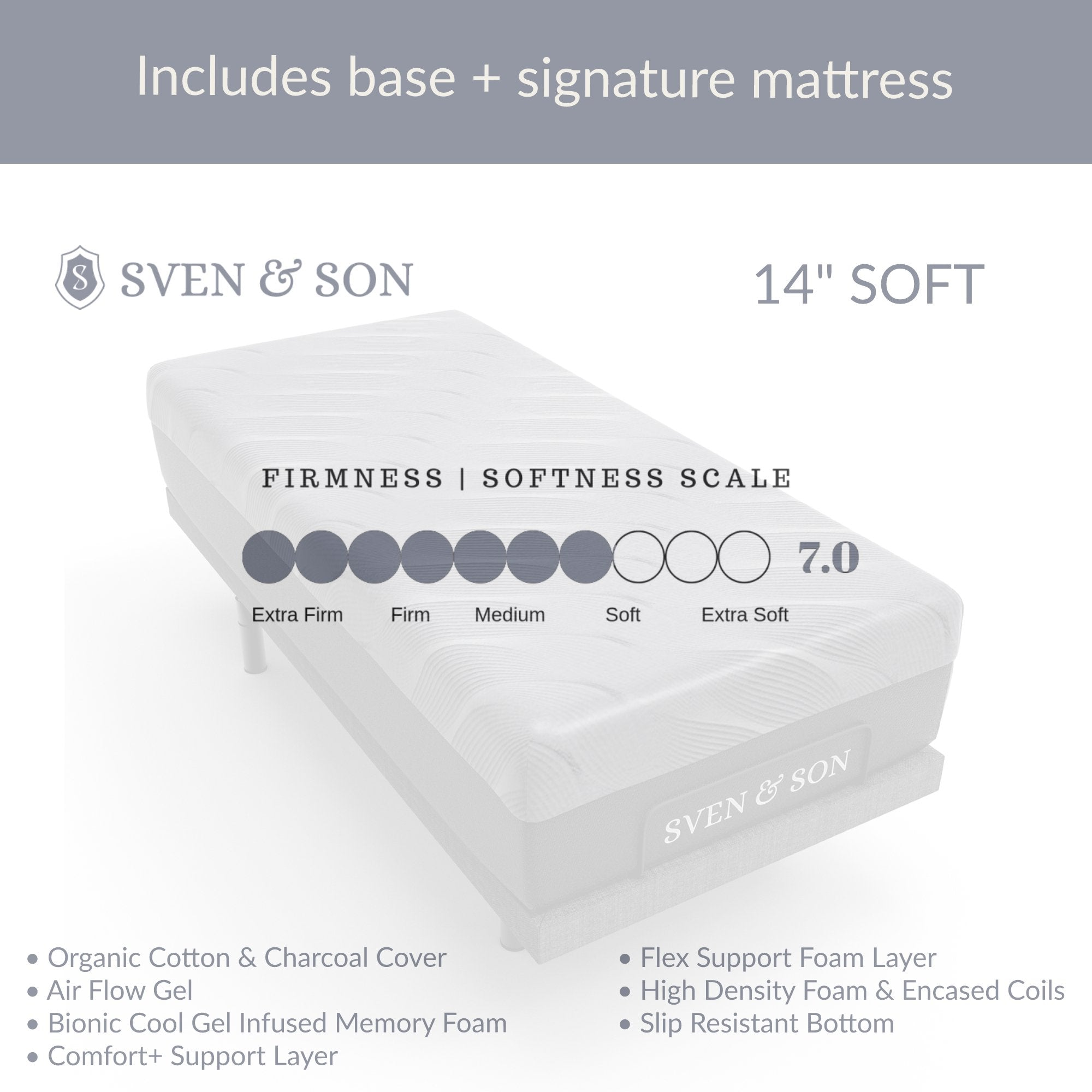 Classic + Head Tilt Adjustable Bed Base + Mattress Bundle bundle Sven & Son