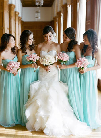 2020 Cheap A Line Mint Chiffon Sweetheart Long Bridesmaid Dresses / Gowns