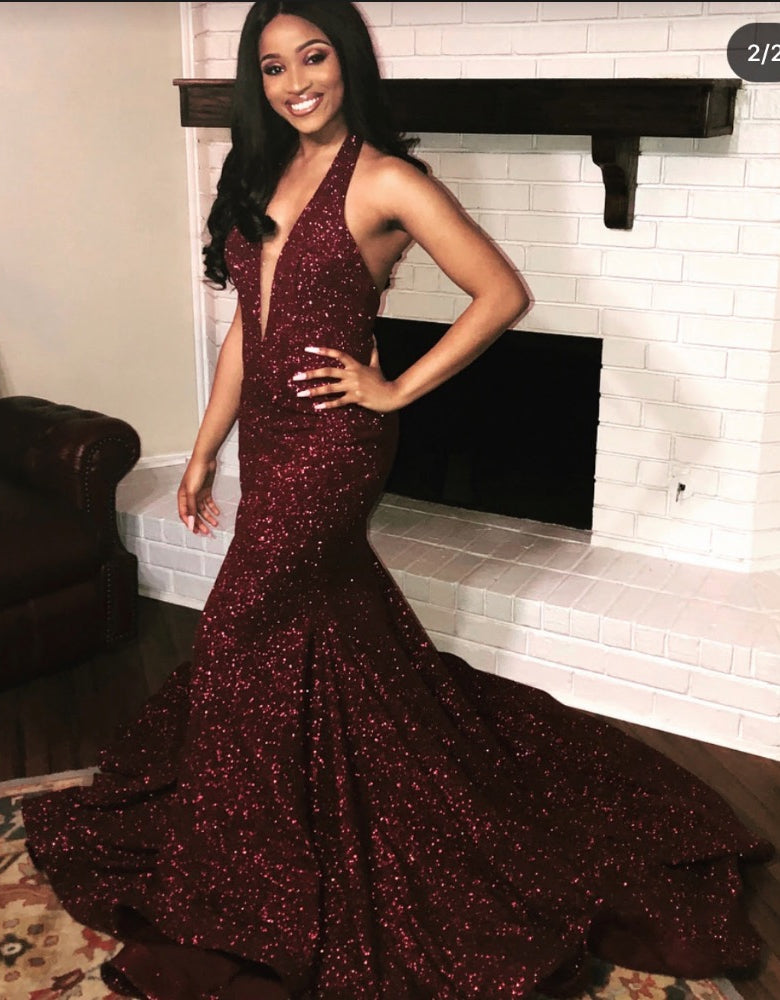 Sexy Deep V Neck Shiny Burgundy Backless Sequence Prom Dresses 2020