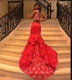 2020 Gorgeous Red Two Piece Mermaid/Trumpet Satin Prom Dresses
