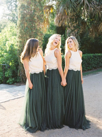New Arrival A Line Tulle Dark Green Lace Long Bridesmaid Dresses