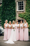 Cheap Chiffon A Line Pearl Pink Long Bridesmaid Dresses
