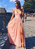 2020 Siren Princess/A-Line Pink Sweetheart Side Slit Prom Dresses