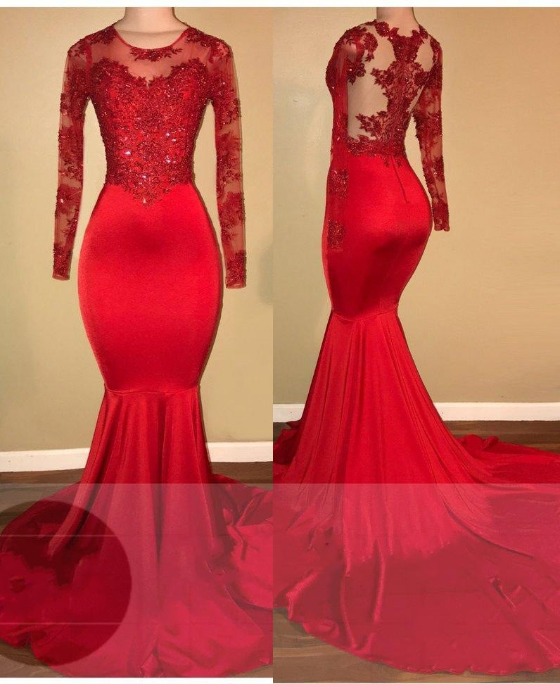 LadyPromDress 2020 Red Mermaid Prom Dresses Chiffon Scoop Neck
