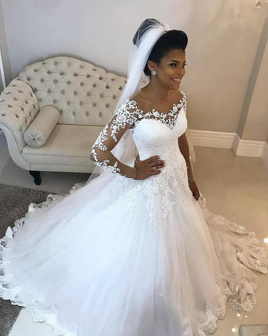 2020 Newly White Long Sleeves Off Shoulder Long Ball Gown Sweetheart Wedding Dresses