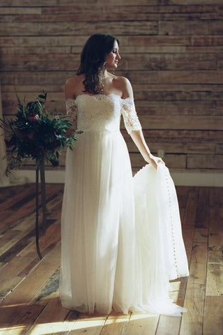 2020 New A Line Tulle Off Shoulder Long Sleeves Lace Floor Length Wedding Dresses