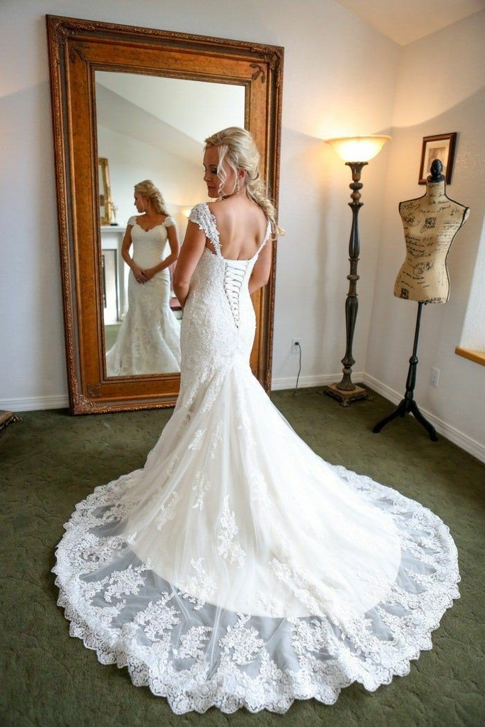 2020 Charming Ivory Sheath Lace Up Back Sweetheart With Capped Sleeves Lace Wedding Dresses