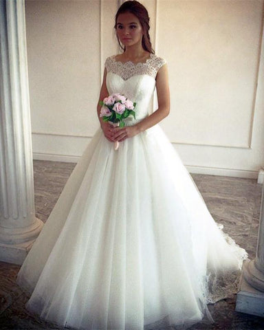 2020 Elegant A Line Tulle Ivory Sweetheart Lace Capped Sleeves Wedding Dresses