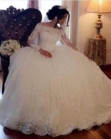 Long Sleeves Off Shoulder Lace Ball Gown Wedding Dresses 2020