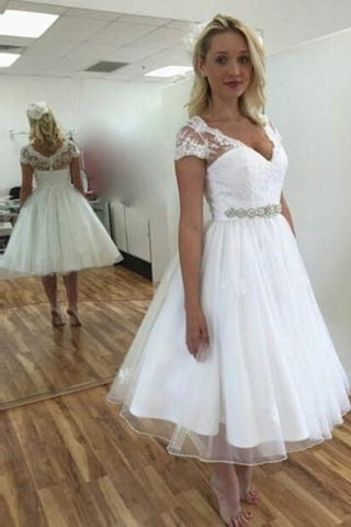 2020 New Arrival A Line Sweetheart White Tea Length Capped Sleeves Short Wedding Dresses