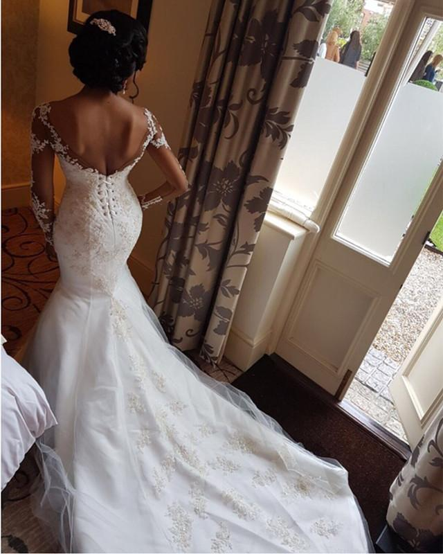 2020 New Arrival Mermaid Sweetheart Long Sleeves African American Lace Up Back Wedding Dresses