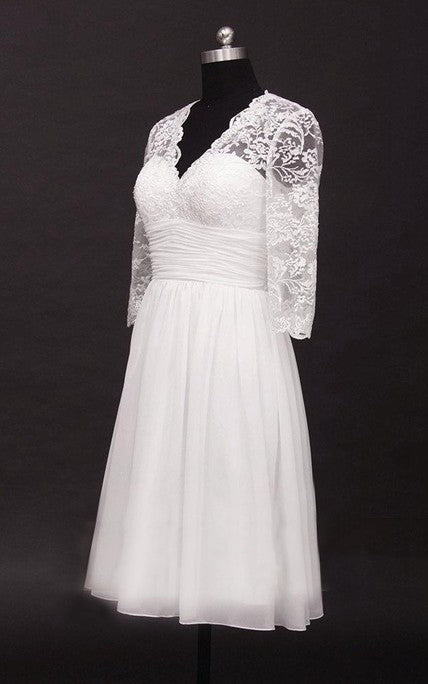 2020 A Line Cheap V Neck Long Sleeves Chiffon Knee Length Short Lace Wedding Dresses