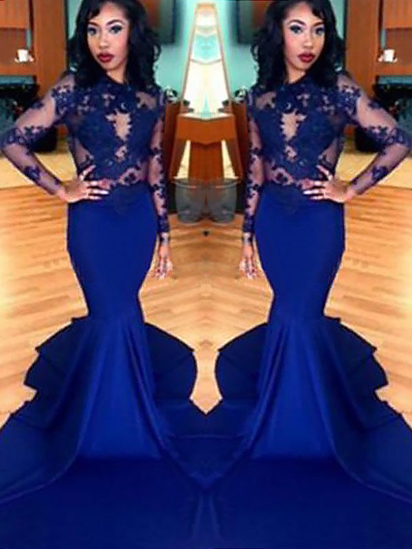 2020 Royal Blue Mermaid Long Sleeve Satin See Through Prom Dresses With Appliques