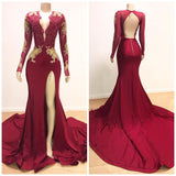2020 Sexy Sheath Long Sleeves Burgundy and Gold Appliques Side Slit Deep V Neck African American Backless Prom Dresses
