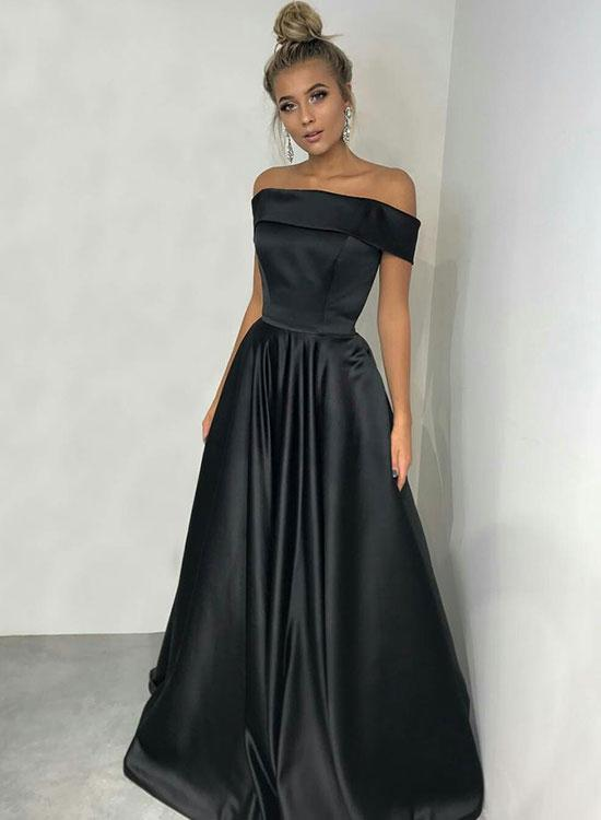 Cheap A Line Satin Black Off Shoulder Simple Prom Dress 2020