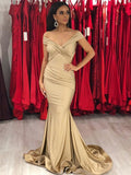 2020 Sexy Mermaid Off Shoulder Champagne Sweetheart Elastic Satin Long Prom Dress