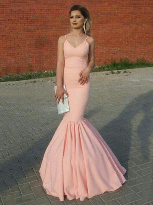 Sexy Pink Mermaid V Neck Pleated Long 2020 Prom Dress