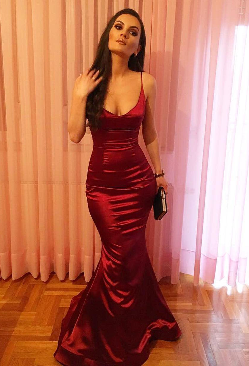 Sexy Mermaid Burgundy Scoop Satin Long 2020 Prom Dress