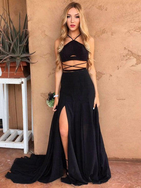 Cheap A Line Black Side Slit Long Train Two Pieces 2020 Prom Dress