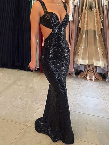 2020 Sexy Mermaid Black Sweetheart Sequence Backless Prom Dress