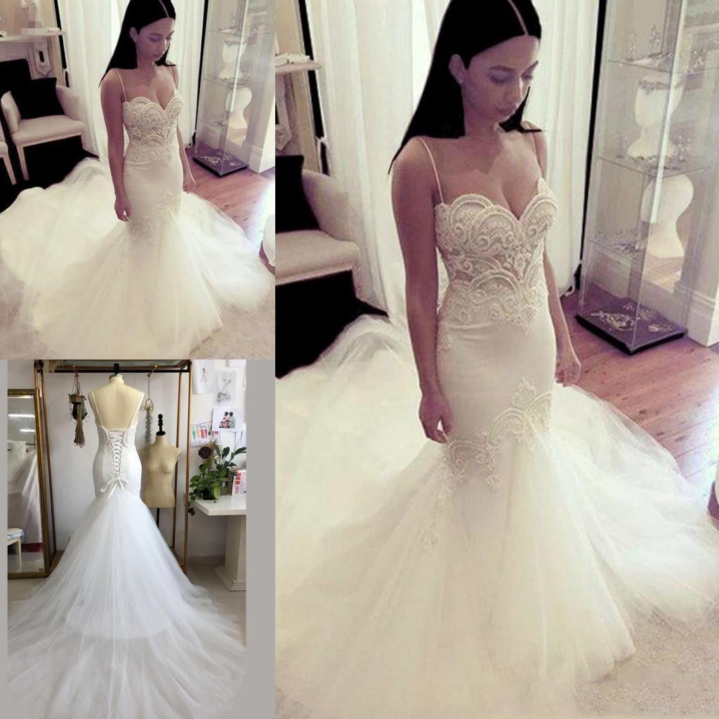 Beige Lace Up Spaghetti Strap Sweetheart Backless Mermaid Tulle Wedding Dresses