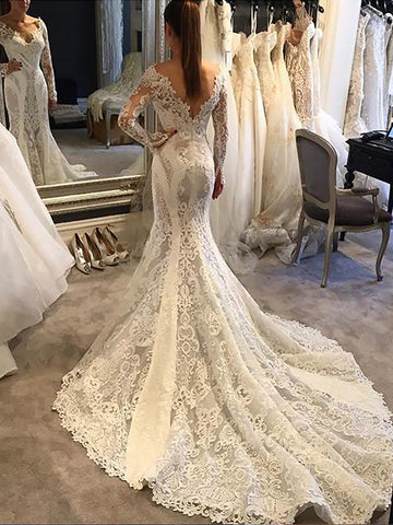 V Neck Long Sleeve Backless Lace Royal Train Applique Mermaid Wedding Dresses