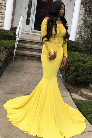 2020 Fresh Daffodil Long Sleeve Off-The-Shoulder Applique Mermaid/Trumpet Satin Prom Dresses