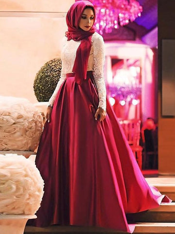 2020 Muslim A-Line/Princess White Lace Burgundy Satin Long Sleeve Prom Dresses