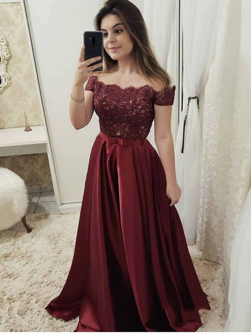 2020 Sexy Elegant A-Line/Princess Off-The-Shoulder Burgundy Lace Beaded Bowknot Satin Prom Dresses