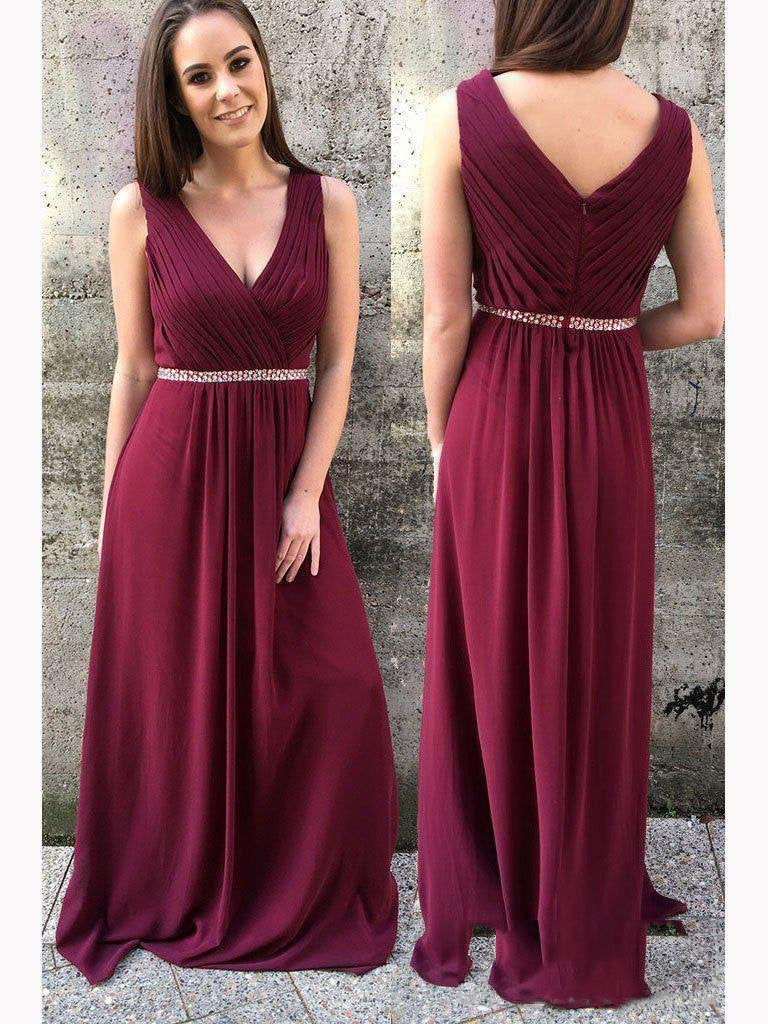 2020 Burgundy Sheath/Column V Neck Sleeveless Pleated Beaded Chiffon Prom Dresses