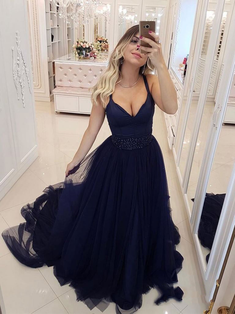 2020 Glamorous Dark-Navy V Neck Regular Straps Tulle Beaded Sleeveless Plus Size Prom Dresses