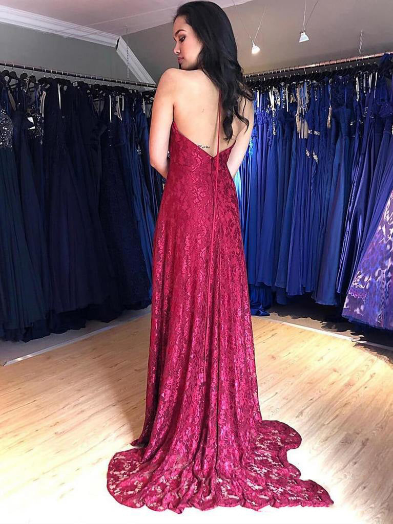 2020 Glamorous Red Sheath/Column Lace Halter V Neck Sleeveless Backless Split-Front Prom Dresses
